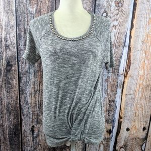 Juicy Couture Gray Sparkle Crystal Sweater Tee L